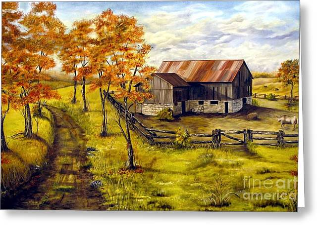 Autumn Shadows Greeting Card by Anna-Maria Dickinson
