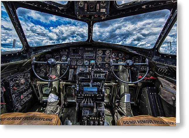 B-17 Cockpit Greeting Card by Mike Burgquist