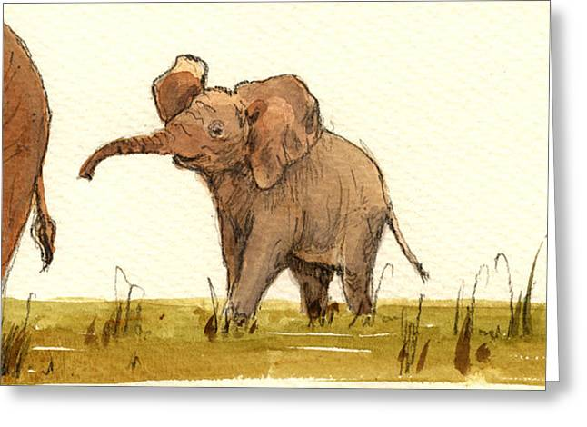 Baby Elephant Greeting Card by Juan  Bosco