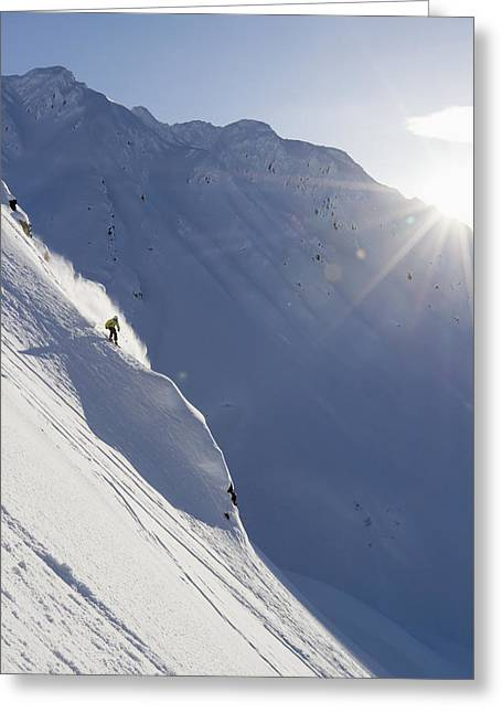 Backcountry Skiing In The Chugach Greeting Card by Scott Dickerson