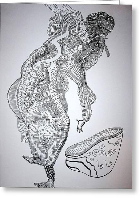 Greeting Card featuring the drawing Bakiga Dance - Uganda by Gloria Ssali
