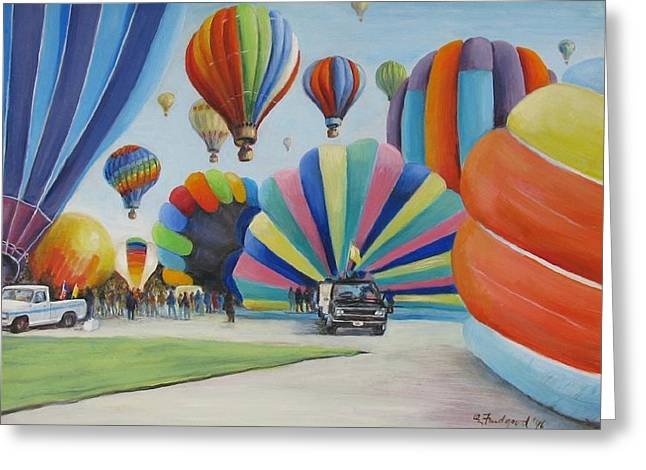 Greeting Card featuring the painting Balloon Fest by Oz Freedgood