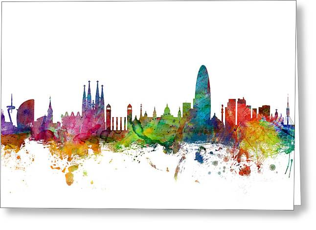 Barcelona Spain Skyline Greeting Card by Michael Tompsett