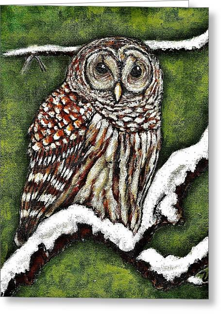 Greeting Card featuring the painting Barred Owl by VLee Watson