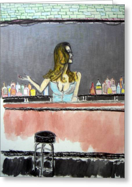 Greeting Card featuring the painting Bartender by J Anthony