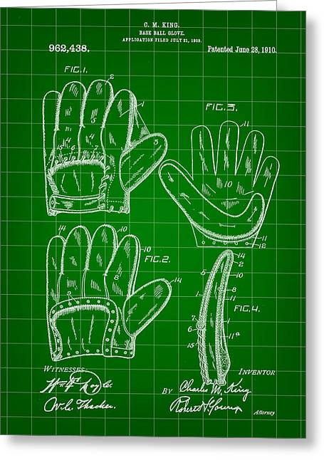 Baseball Glove Patent 1909 - Green Greeting Card by Stephen Younts