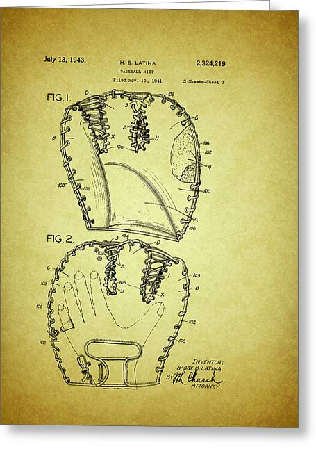Baseball Glove Patent 1943 Greeting Card by Mountain Dreams