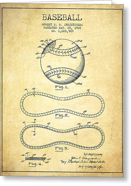 Baseball Patent Drawing From 1928 Greeting Card