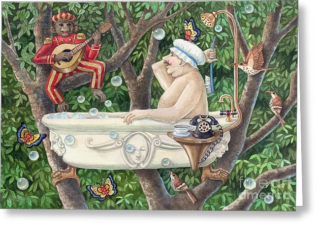 Bath Tub Serenade Greeting Card by Ann Gates Fiser