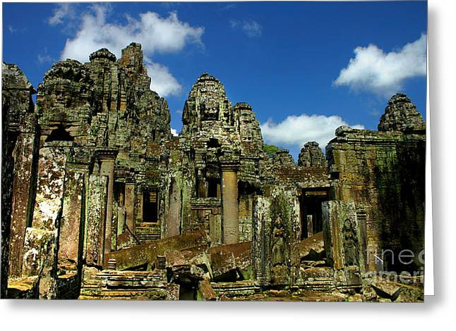 Greeting Card featuring the photograph Bayon Temple by Joey Agbayani