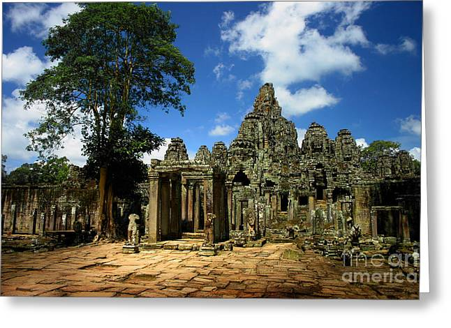 Greeting Card featuring the photograph Bayon Temple View From The East by Joey Agbayani
