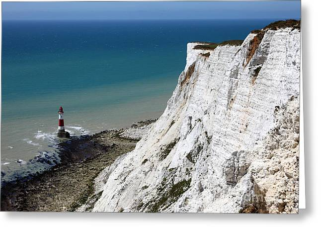 Beachy Head Cliffs And Lighthouse  Greeting Card