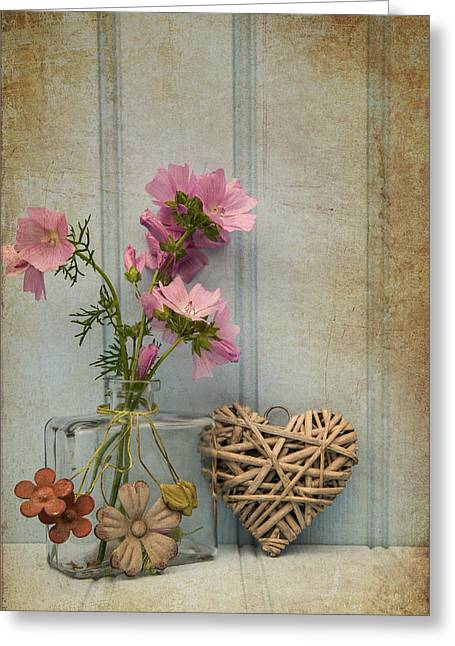 Beautiful Flower In Vase With Heart Still Life Love Concept Greeting Card by Matthew Gibson