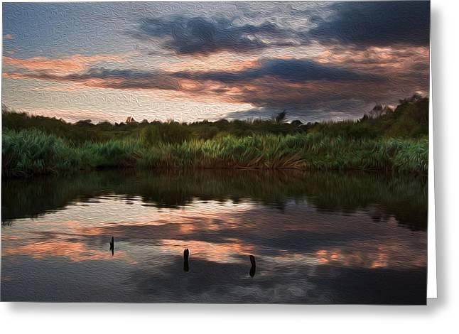 Beautiful Sunset Over Autumn Fall Lake Digital Painting Greeting Card