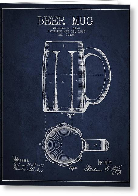 Beer Mug Patent From 1876 - Navy Blue Greeting Card by Aged Pixel