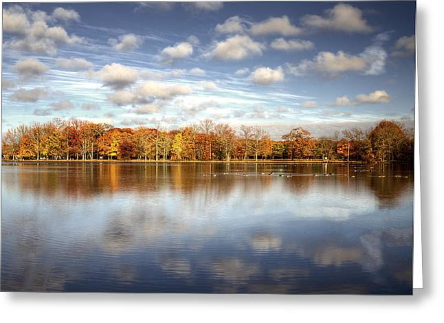 Belmont Lake Reflections Greeting Card by Vicki Jauron