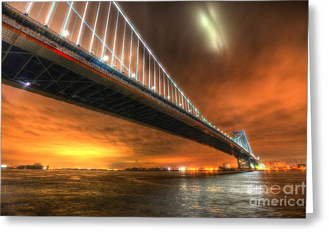 Ben Franklin Bridge At Night Greeting Card
