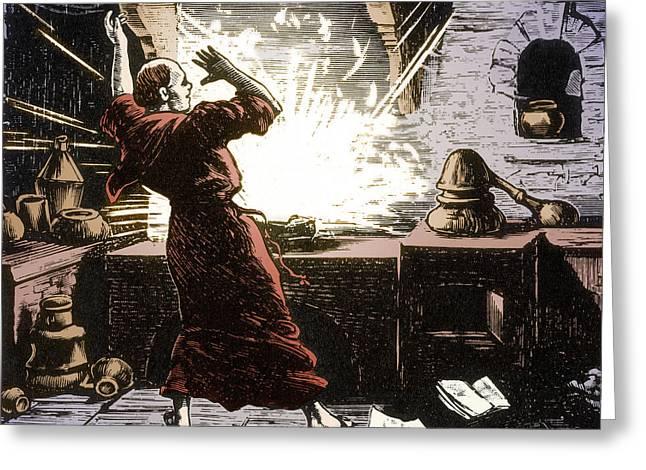 Berthold Schwarz, German Alchemist Greeting Card by Science Source