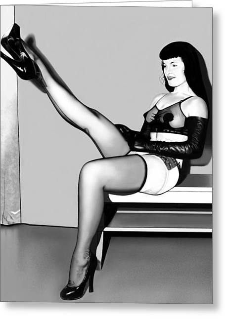 Bettie Page Greeting Card by Andrew Harrison