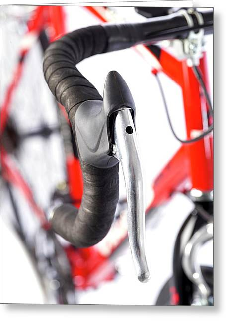 Bicycle Handlebars Greeting Card by Science Photo Library