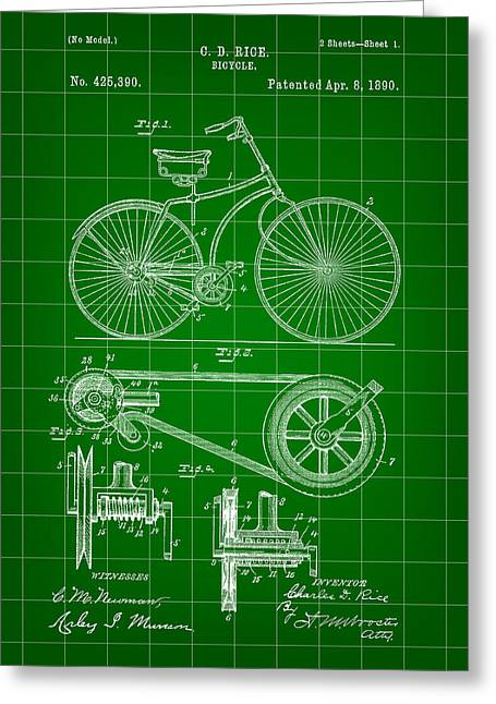 Bicycle Patent 1890 - Green Greeting Card by Stephen Younts
