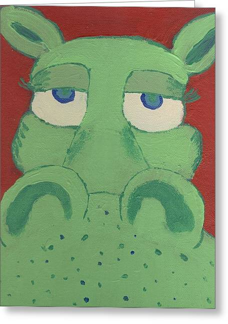 Greeting Card featuring the painting Big Green Potamus by Yshua The Painter