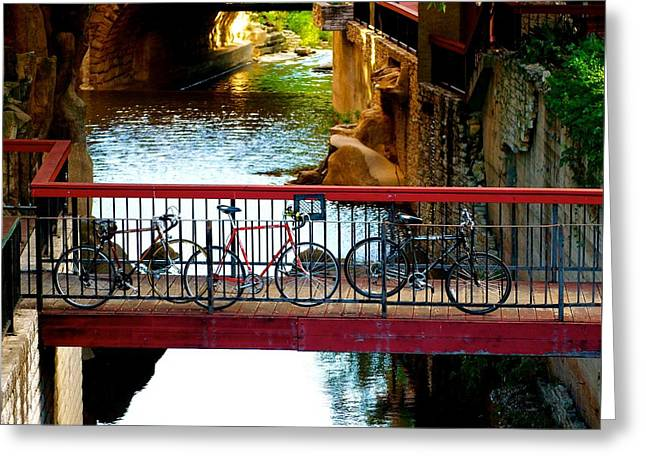 Bikes Over Waller Creek In Austin Greeting Card