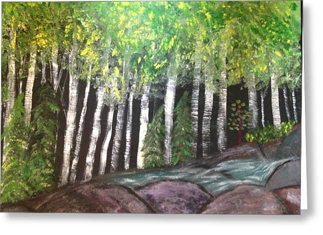 Greeting Card featuring the painting Birches By Falls by Paula Brown
