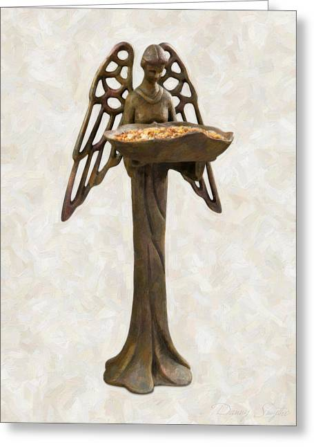 Bird Feeder Angel Greeting Card by Danny Smythe