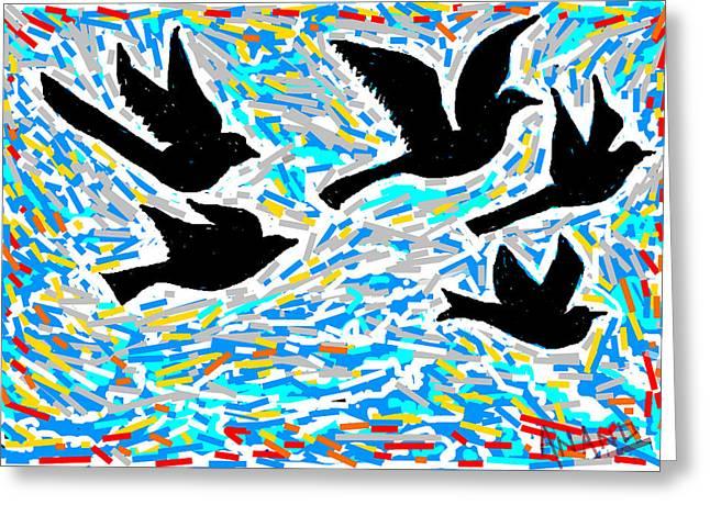 Birds In Flight Greeting Card by Anand Swaroop Manchiraju