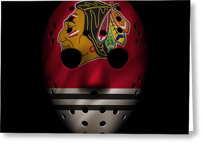 Blackhawks Jersey Mask Greeting Card