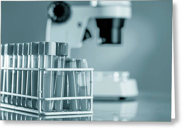 Blood Samples In Lab Greeting Card by Wladimir Bulgar