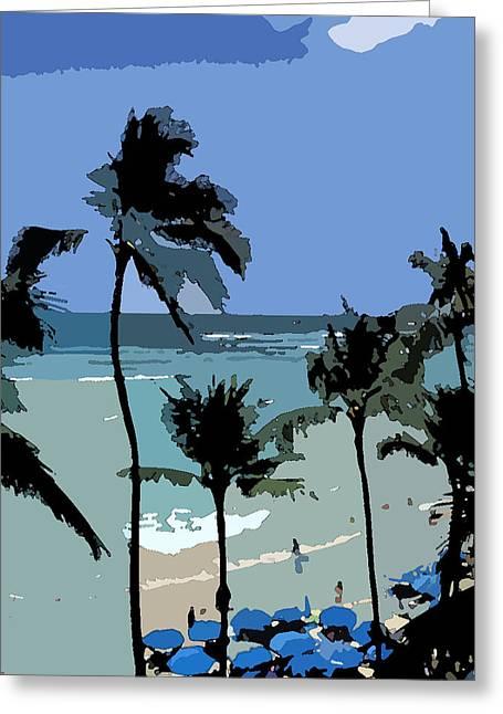 Blue Beach Umbrellas Greeting Card by Karen Nicholson