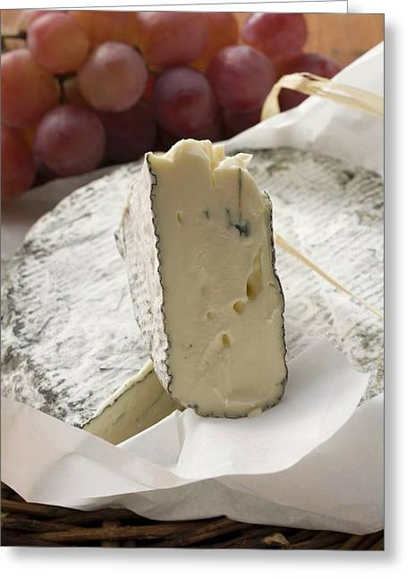 Blue Cheese (bresse Bleu, France) And Grapes Greeting Card
