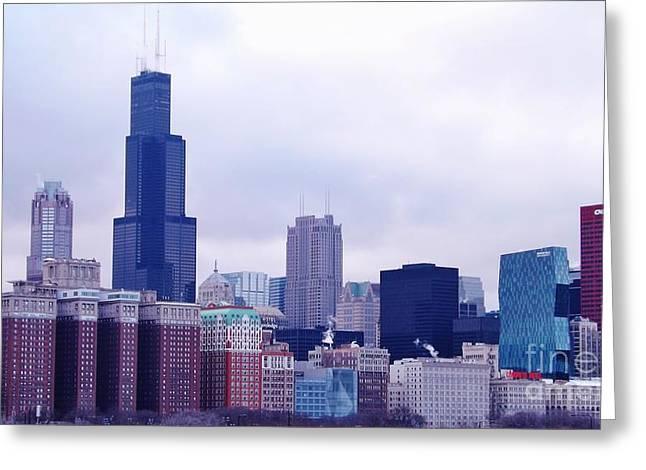 Blue Chicago Skyline Greeting Card by Brigitte Emme