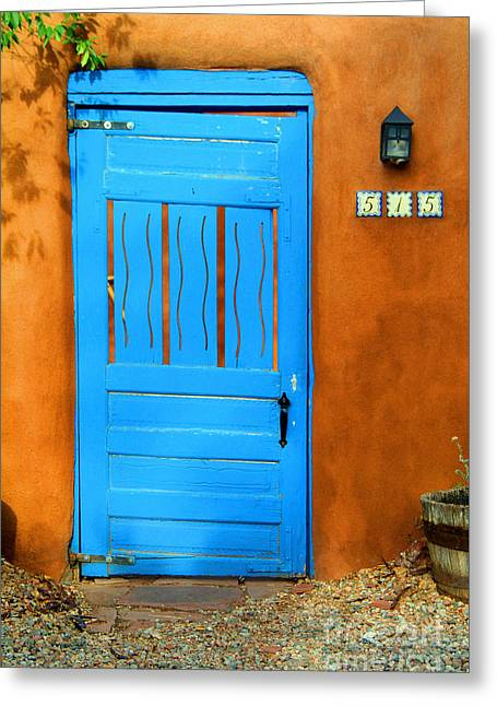 Blue Door In Santa Fe Greeting Card