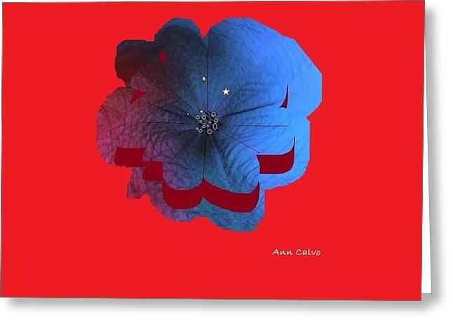 Blue Flower Greeting Card by Ann Calvo