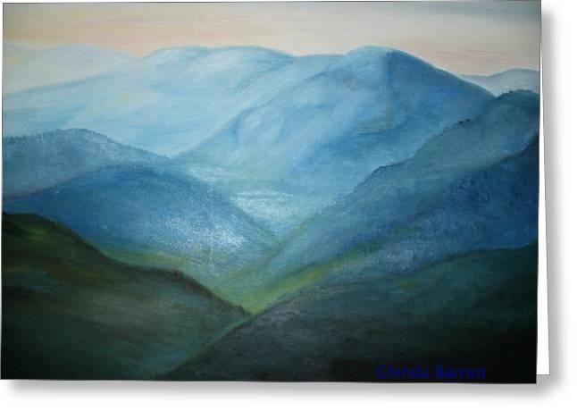 Blue Mountain Ridges Greeting Card by Glenda Barrett