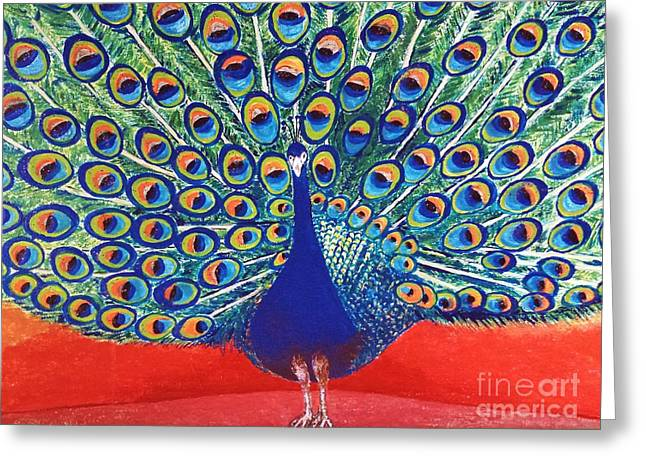 Blue Peacock Greeting Card by Jasna Gopic