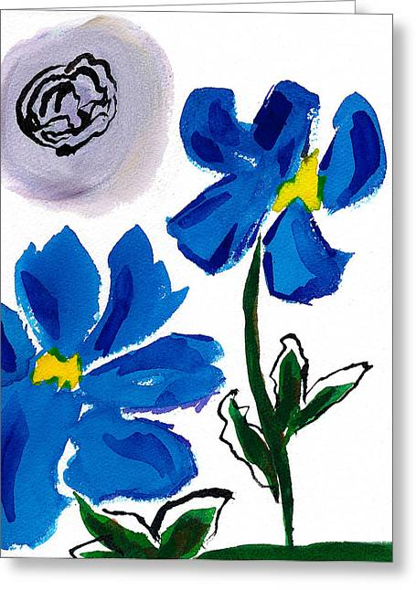 Greeting Card featuring the painting 2 Blue Petunias Abstract by Frank Bright