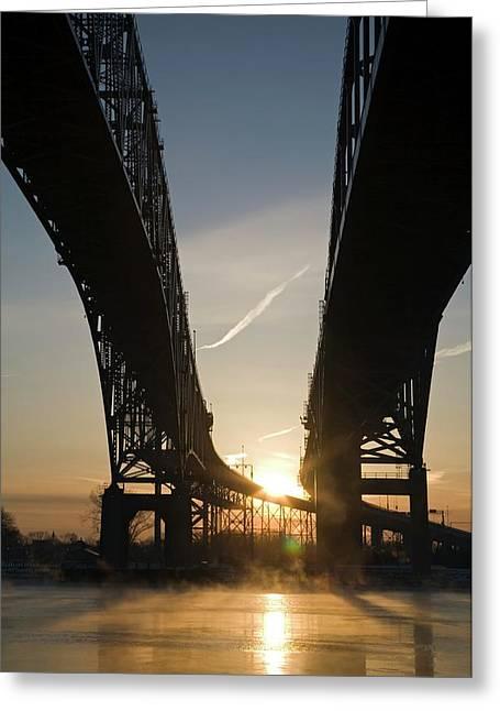 Blue Water Bridge Greeting Card by Jim West