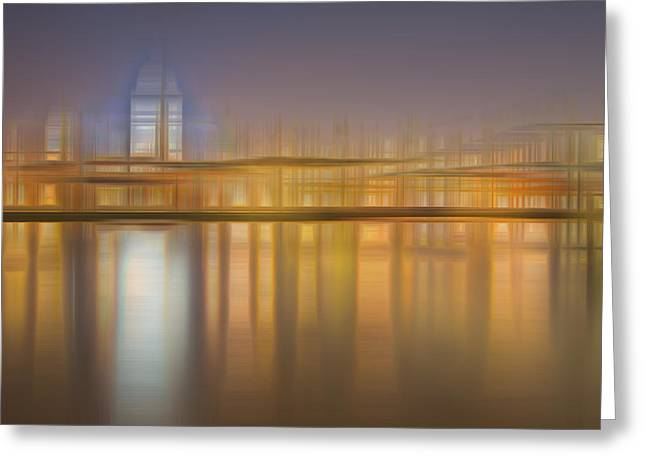 Blurred Abstract City Skyline Colorful Background Greeting Card by Matthew Gibson