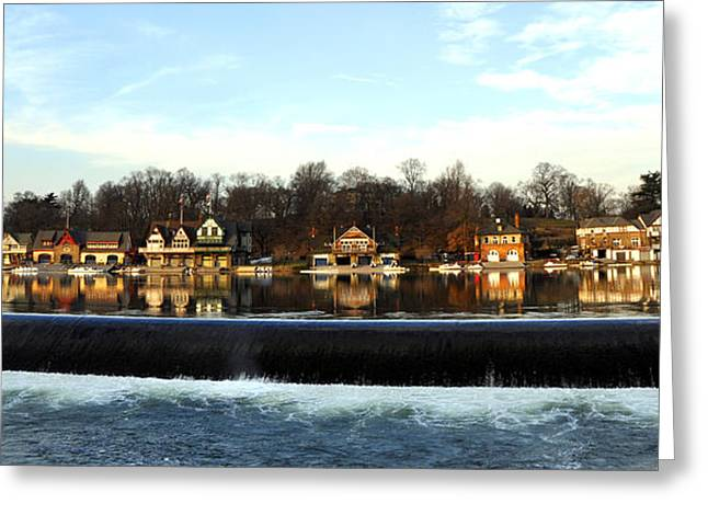 Boathouse Row Greeting Card by Andrew Dinh