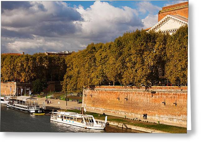 Boats At Quai De La Daurade, Toulouse Greeting Card by Panoramic Images