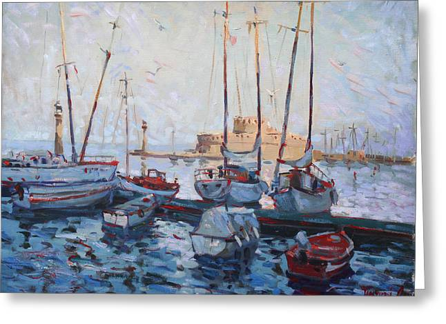 Boats In Rhodes Greece  Greeting Card by Ylli Haruni