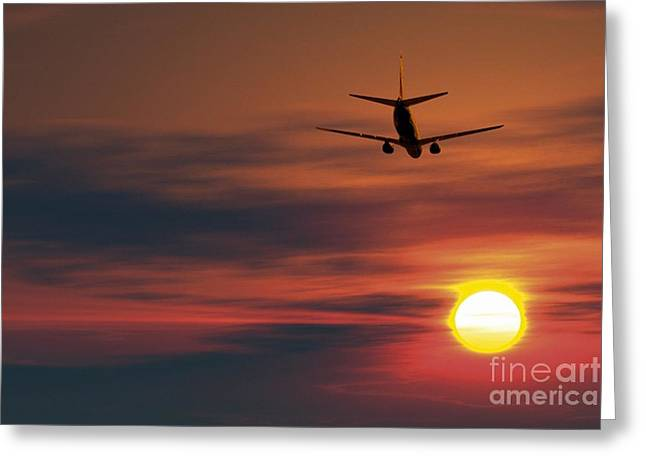 Boeing 737 Ascending At Sunset, Artwork Greeting Card by Detlev van Ravenswaay