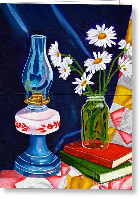 2 Books And A Lamp Greeting Card by Laura Forde