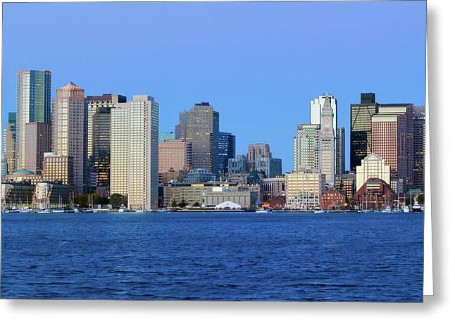 Boston Harbor And The Boston Skyline Greeting Card