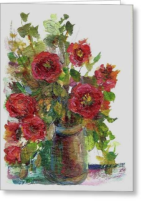 Greeting Card featuring the painting Bouquet Of Poppies by Mary Wolf