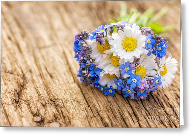 Bouquet With Daisies And Forget-me-not Greeting Card by Palatia Photo